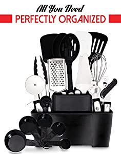 Cooking Utensils 22 Pieces + Holder Stainless Steel And Nylon by GR Kitchen - Perfect Kitchen Cookware Accessories, Gadgets and Tools for Cooking, Baking and frying - BONUS: Free Ebook