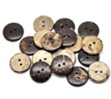 The Bead and Button Box - 20 Coconut shell Buttons 20mm. Sewing, Crafts, Scrap book