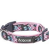 Aodoor Hundehalsbänder Frühlingsblütenmuster Neopren-Gepolstertes Hundehalsband Pet Halsbänder für Hunde Gänseblümchen Pfingstrosen und Rosen 2cm 37-50cm M