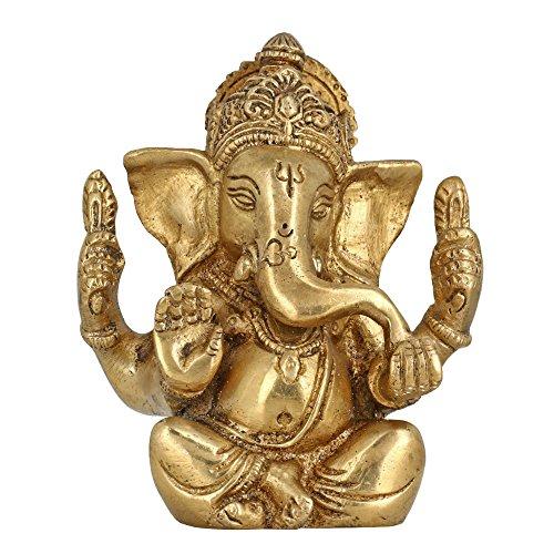 God Of Luck Seduti Lord Ganesha religiosi Regali ottone metallo Art Home decorazione per la Puja 4 pollici