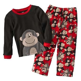 "Carter's Boys 2-piece ""Red Monkey"" Thermal Top and Micro Fleece Pants Pajamas Set - Size 4 Kids"