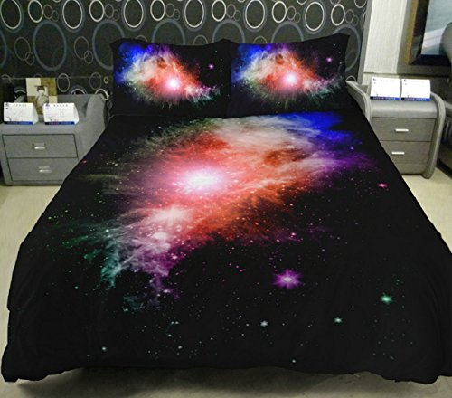Anlye Black And White Galaxy Bedding Set 2 Sides 3D Printed Cloud Quilt Coverlet Galaxy Flat Sheet With 2 Bedroom Pillow Covers Queen front-771931
