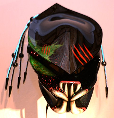 Predator Helmet Motorcycle Helmet Fiber Optic Dreads and Tri-lasers