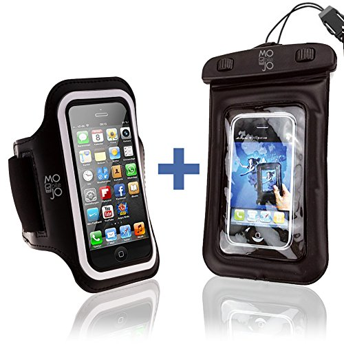 Iphone 5 Armband + Bonus Waterproof Phone Case / Bag - Best Fit For Running, Jogging, Sports, Workouts And Exercise. Fits 5, 5S, 5C Phones. Sweat Proof Neoprene Material. Fully Adjustable For Women And Men. Protect Your Cell Phone Investment - Easy Access