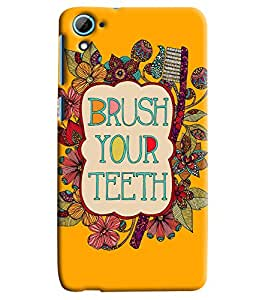 Blue Throat Brush Your Teeth Printed Designer Back Cover For HTC Desire 826