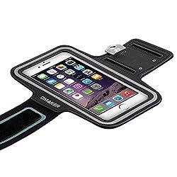 Omaker スポーツアームバンド キーホルダー付きランニングアームバンドケース【防汗/調節可能】iPhone5/iPhone6plus/Xperiaなどに対応 ブラック