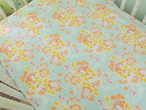 Tushies and Tantrums Bumperless Crib Bedding with Coral Chevron Stripes, Aqua/Coral