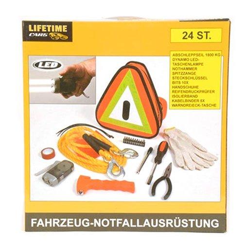 24tlg Notfallausrüstung Abschleppseil Warndreieck