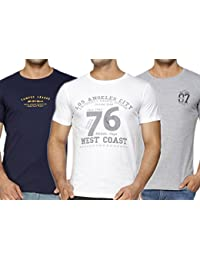 Perroni Men's Basic Cotton Blend Material Round Neck Half Sleeve Printed Smart Fit TShirts For Summer- Combo Pack...