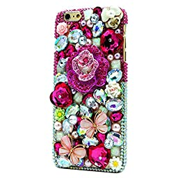iPhone 6 Plus Case, STENES Luxurious Crystal 3D Handmade Sparkle Diamond Rhinestone Clear Cover with Retro Bowknot Anti Dust Plug - Rose Butterfly / Bright&Peach