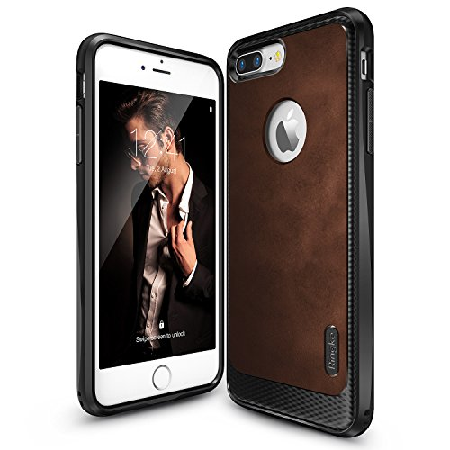 IPhone 7 Plus Case, Ringke [Flex S Series] Coated Textured Leather Style Flexible TPU Advanced Shock Protection Durable Sophisticated Rustic Stylish Case for Apple iPhone 7 Plus 2016 - Brown