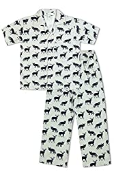 GreenApple Boys Organic Cotton Animal Print Pyjama Set (FVGA077, Blue, 7-8 Years)