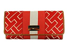 Tommy Hilfiger Signature Jacquard Continental Trifold Wallet Clutch (Red/Beige/Big Logo/GP)