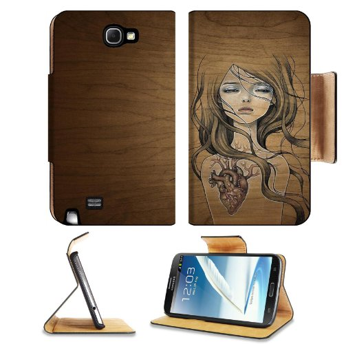 Pattern Heart Girl Samsung Galaxy Note 2 N7100 Flip Case Stand Magnetic Cover Open Ports Customized Made To Order Support Ready Premium Deluxe Pu Leather 6 1/16 Inch (154Mm) X 3 5/16 Inch (84Mm) X 9/16 Inch (14Mm) Liil Note Cover Professional Note2 Cases front-911970