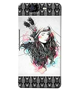 Fuson Beautiful Pattern Girl Back Case Cover for MICROMAX A350 CANVAS KNIGHT - D3719