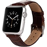 Apple Watch Strap, Pasonomi® Premium Genuine Leather Replacement Watchband with Secure Metal Clasp, Apple Watch Band Crocodile Leather Strap Wrist Band Classic Buckle for Apple Watch & Sport & Edition (Leather Brown - 42mm)