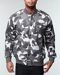 Crooks & Castles Men\'s CRKS Stadium Knit Jacket, Grey Camo, X-Large