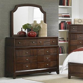Homelegance Carrie Ann 8 Drawer Dresser w/ Mirror in Warm Cherry