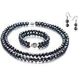 Black 6-7mm A Quality Freshwater Pearl Set