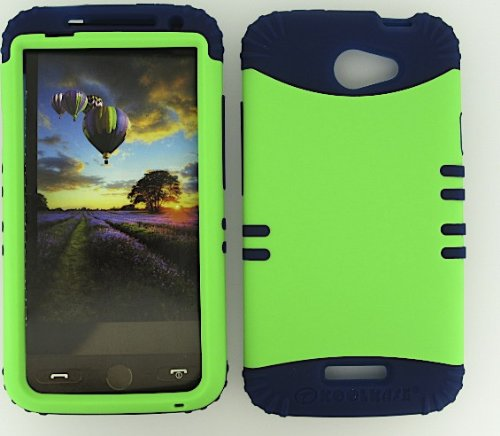 Shockproof Hybrid Cell Phone Cover Protector Faceplate Hard Case And Dark Blue Skin With Mini Stylus Pen. Kool Kase Rocker For Htc One X S720E Neon Lime Green Db-A006-Pd
