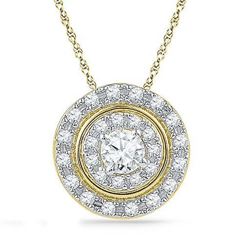 Ishis Sterling Silver Yellow Plated Round CZ Fashion Pendant (multicolor)
