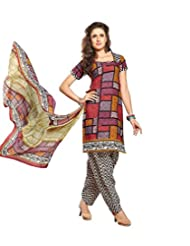 Sky Fashions Women's Multi Cotton Top Un-stiched Salwar Suit (SYFW0017)