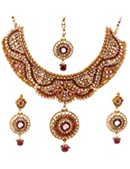 Exotic India Faux Ruby Necklace Set With Mang Tika - Copper Alloy With Cut Glass