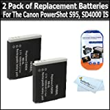 2 Pack of Replacement Batteries For Canon NB-6LH NB-6L 1200MAH Each + Free Pack Of LCD Screen Protectors For Canon Powershot SX500 IS, SX500IS, S95, SD4000IS, ELPH 500 HS, SX260 HS, SX260HS Digital Camera + MicroFiber Cleaning Cloth