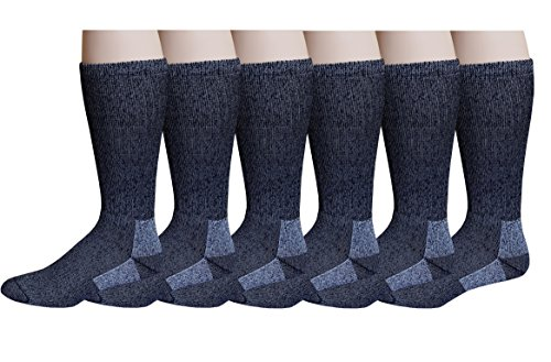 6 Pairs Pack Men's 75% Merino Wool Hiking Thermal Socks (10-13)