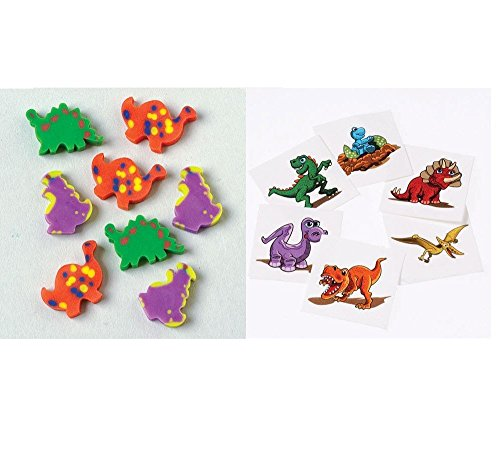Awesome DINOSAUR PARTY FAVORS - 144 Mini ERASERS & 72 Temporary TATTOOS - Teacher GIVEAWAYS Daycare After School