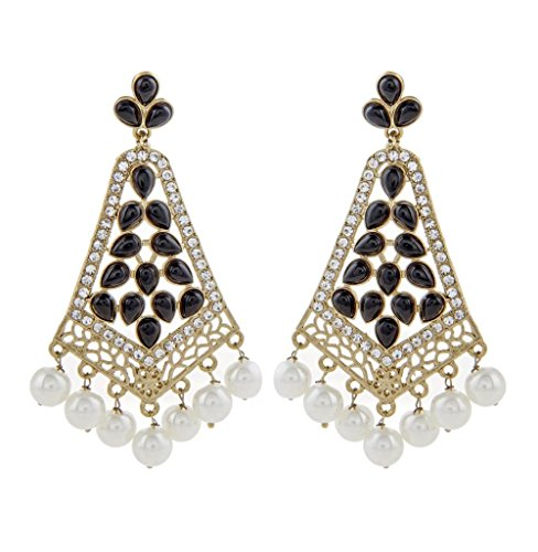 The Jewelbox Gold Plated Pearl Black Stone CZ Filigree Long Chandelier Earring