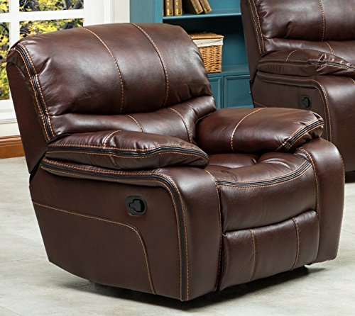 Ewa Brown Leather Air Reclining Sofa Loveseat And Rocker