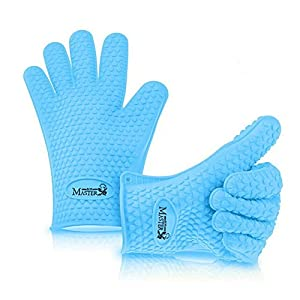 Heat Resistant Gloves Waterproof Silicone 5 Finger Barbecue Oven Mitts Universal Premium Cooking Gloves Set Non Slip Perfect Grip High Temperature BBQ Grill Microwave Kitchen Thermal Protection (Blue)