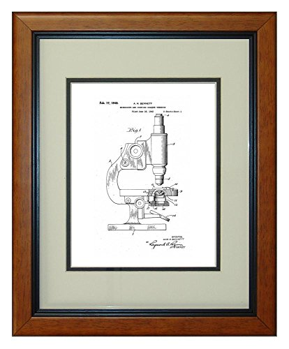 """Microscope And Counting Chamber Patent Art White Matte Print In A Honey Glazed Wood Frame (11"""" X 14"""")"""
