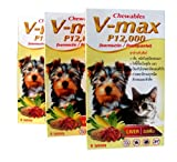 3 Packs Heart Worm Mange Tick & Flea Control Anthelmint for Small Dogs & Cats 30-45 Kg. V-max P12000 Chewables Liver Flavor 6 Tablets (Get Free Dog Snack Stick)