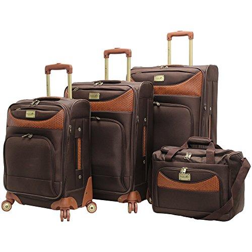 caribbean-joe-castaway-4-piece-spinner-luggage-set-chocolate