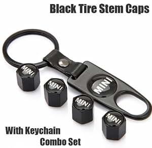 Amazon.com: Mini Cooper Black Tire Stem Valve Caps and Black Keychain