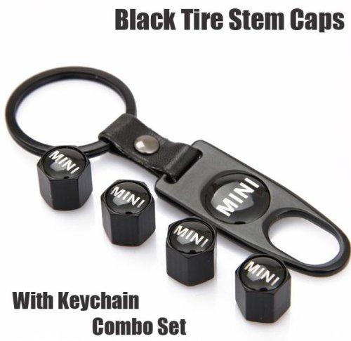 Mini Cooper Black Tire Stem Valve Caps and Black Keychain Combo Set (Mini Cooper compare prices)