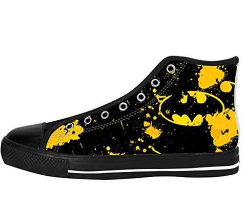 Men's Canvas High Top Shoes Batman Logo Design US 9