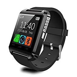 Rasse Bluetooth 3.0 Smartwatch for iOS Apple iPhone 6,iPhone 6 Plus,iPhone 5s/5c/5/4s/4 Android Samsung S2/S3/S4/S5/Note 2/Note 3/Note 4 HTC Sony Blackberry Smartphone (Black)