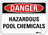 "SmartSign by Lyle U3-1575-RA_14X10 ""DANGER HAZARDOUS POOL CHEMICALS"" Reflective Recycled Aluminum Sign, 14"" x 10"""