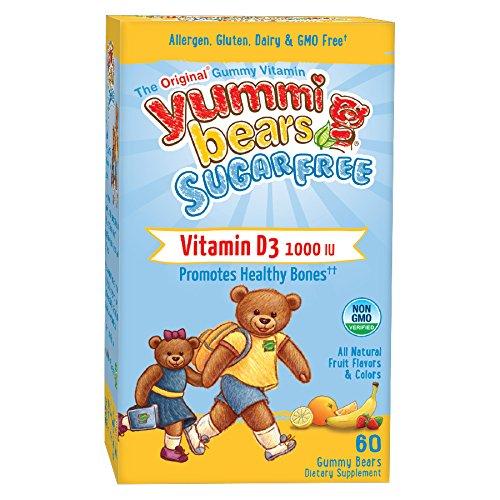 Yummi Bears Sugar Free Vitamin D3 Supplement for Kids, 60 Gummy Bears