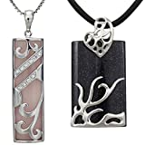 """Dragon and Phoenix Simulated Rose Quartz and Midnight Blue Goldstone Silver Pendant Necklace Set 16"""""""