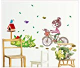 Asmi Collection PVC Wall Stickers Wall Decals Little Girl on Cycle
