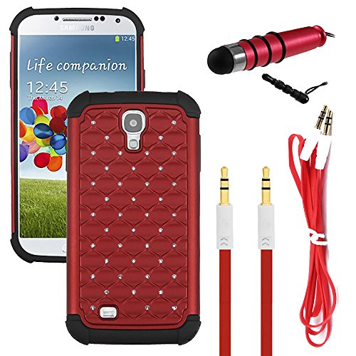 NEWTECK Rugged Impact Proof Shock Resistant Case + Micro USB Charging Cable + Auxiliary Cord & Mini Pen Stylus Bundle Kit for Samsung Galaxy S4 (3 Pieces- Diamond Stud Red) (Samsung S4 Mini Case Red compare prices)