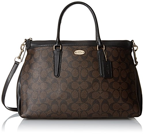 coach-womens-signature-leather-morgan-satchel-brown-black