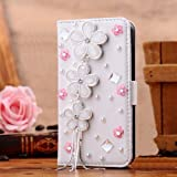 New Designer 3d Crystal Rhinestone Luxury Flip Wallet White Leather Handmade Case Cover for Apple Iphone 4 4s,5 5s, Samsung Galaxy S3,s4 (iphone 5/5s, daisy and pink flowers) Reviews