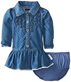 Calvin Klein Baby-Girls Infant Long Sleeve Denim Dress with Ruffles, Blue, 18 Months