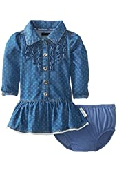 Calvin Klein Baby Girls' Long Sleeve Dress with Ruffles