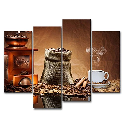 Brown 4 Piece Wall Art Painting Coffee Cup Plate Pictures Prints On Canvas Food The Picture Decor Oil For Home Modern Decoration Print